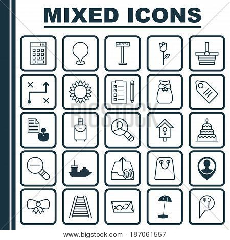 Set Of 25 Universal Editable Icons. Can Be Used For Web, Mobile And App Design. Includes Elements Such As Tote Bag, Zoom Out, Birdhouse And More.