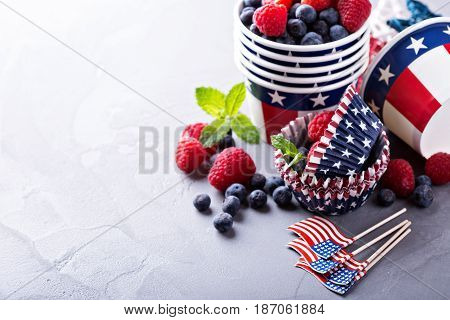 Cooking and making food for the Fourth of July, cups and cupcake liners