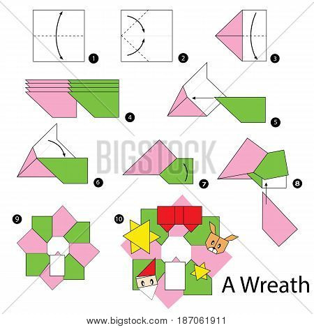 step by step instructions how to make origami Christmas wreath.