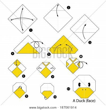 step by step instructions how to make origami a duck.