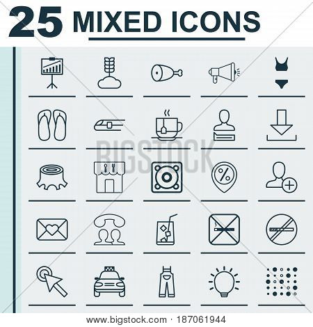 Set Of 25 Universal Editable Icons. Can Be Used For Web, Mobile And App Design. Includes Elements Such As Music, Speaking People, Metro And More.