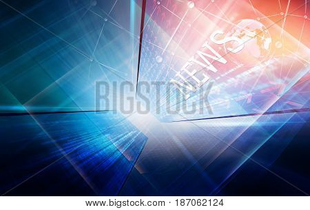 High-Tech News Studio Background with earth globe, 3d illustration