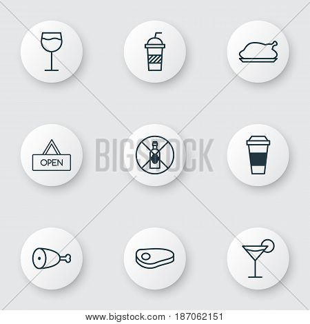 Set Of 9 Restaurant Icons. Includes Wineglass, Fried Poultry, Cocktail And Other Symbols. Beautiful Design Elements.