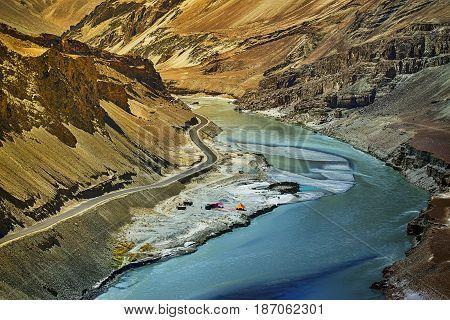 Indus river flowing through rocks of Ladakh Jammu and Kashmir Leh Ladakh India