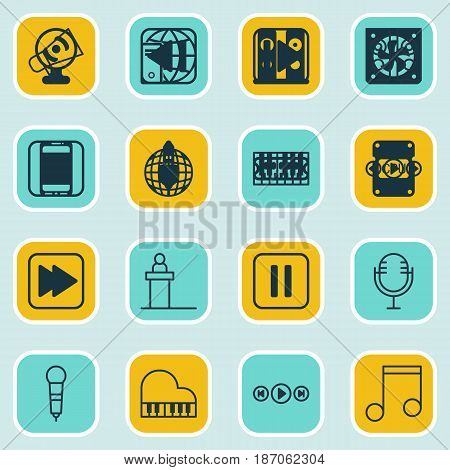 Set Of 16 Music Icons. Includes Following Song, Last Song, Note And Other Symbols. Beautiful Design Elements.