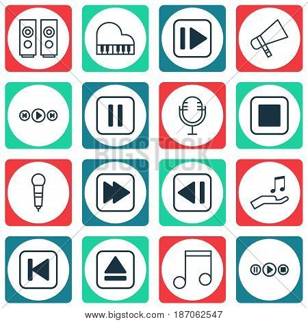 Set Of 16 Audio Icons. Includes Audio Buttons, Following Song, Octave And Other Symbols. Beautiful Design Elements.