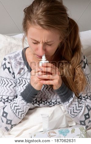 Woman Has Cold, Flu And High Fever.