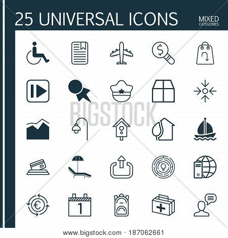Set Of 25 Universal Editable Icons. Can Be Used For Web, Mobile And App Design. Includes Elements Such As Exit, Business Aim, Accessibility And More.