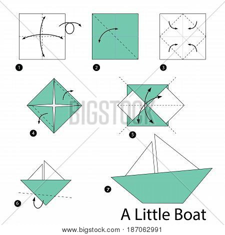 step by step instructions how to make origami A Little Boat.