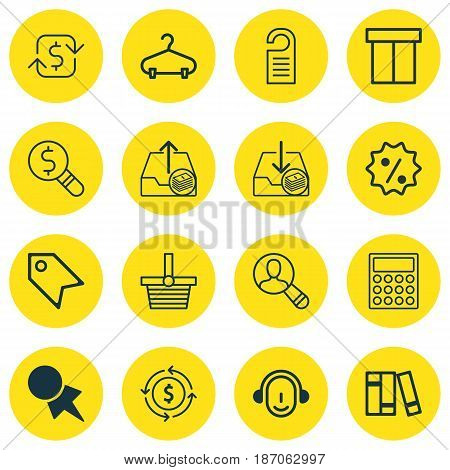 Set Of 16 Commerce Icons. Includes Price Stamp, Calculator, Withdraw Money And Other Symbols. Beautiful Design Elements.