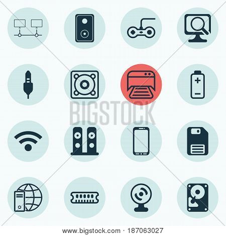 Set Of 16 Computer Hardware Icons. Includes Audio Device, Music, Hdd And Other Symbols. Beautiful Design Elements.