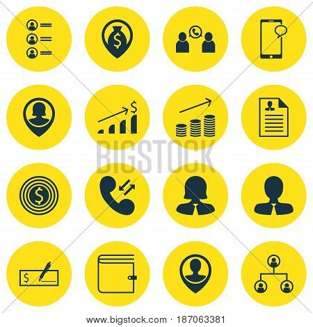 Set Of 16 Human Resources Icons. Includes Job Applicants, Business Goal, Messaging And Other Symbols. Beautiful Design Elements.
