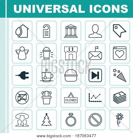 Set Of 25 Universal Editable Icons. Can Be Used For Web, Mobile And App Design. Includes Elements Such As Hang Lamp, Web Profile, Archangel And More.