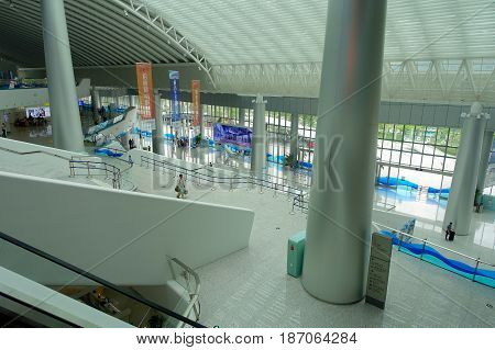 SHENZHEN, CHINA- MAY 11, 2017: Amazing building architecture inside of the terminal ferry of the city of shenzhen China.