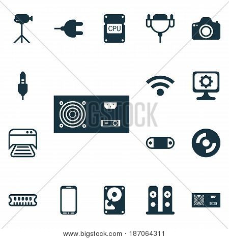 Set Of 16 Computer Hardware Icons. Includes Camera, PC, Hdd And Other Symbols. Beautiful Design Elements.