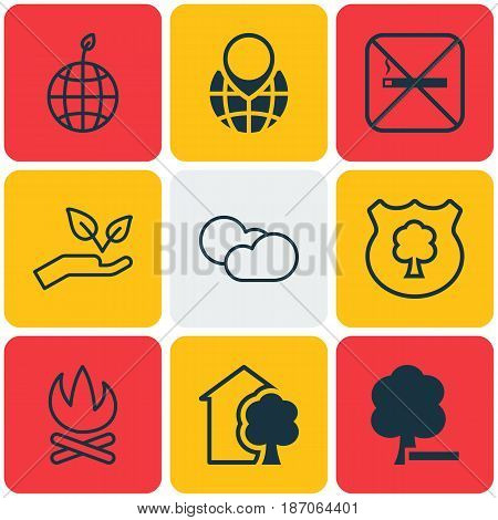 Set Of 9 Eco Icons. Includes Delete Woods, Pin Earth, Cloud Cumulus And Other Symbols. Beautiful Design Elements.