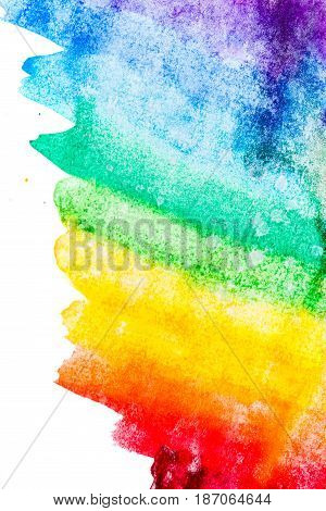 Multicolored color transitions with rainbow-style watercolors. Abstraction of paints.