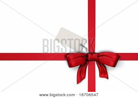 red gift ribbon with blank tag