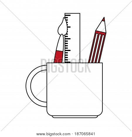 color silhouette image cartoon pencil holder with brush and ruler vector illustration
