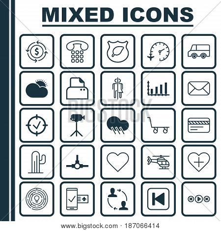 Set Of 25 Universal Editable Icons. Can Be Used For Web, Mobile And App Design. Includes Elements Such As Cactus, Phone Reservation, Run Song Back And More.