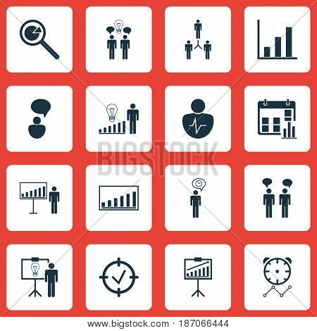 Set Of 16 Board Icons. Includes Project Presentation, Team Meeting, Decision Making And Other Symbols. Beautiful Design Elements.