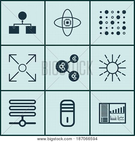 Set Of 9 Artificial Intelligence Icons. Includes Analysis Diagram, Algorithm Illustration, Atomic Cpu And Other Symbols. Beautiful Design Elements.