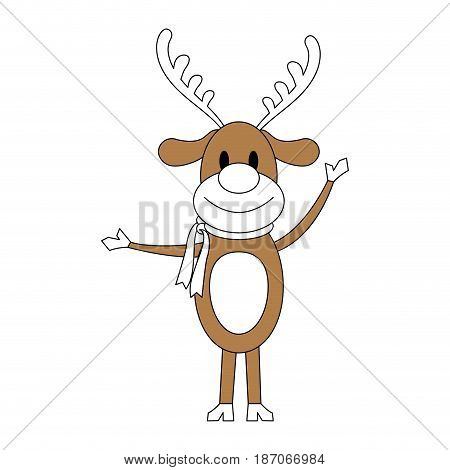 color silhouette image cartoon full body reindeer with scarf vector illustration