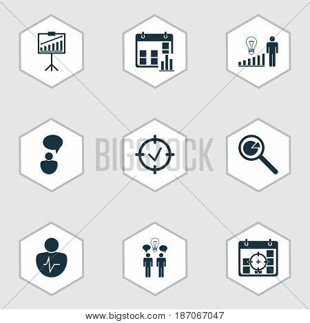 Set Of 9 Administration Icons. Includes Presentation Date, Personal Character, Approved Target And Other Symbols. Beautiful Design Elements.
