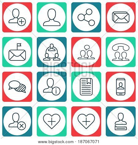 Set Of 16 Social Network Icons. Includes Ban Person, Speaking, Insert Person And Other Symbols. Beautiful Design Elements.