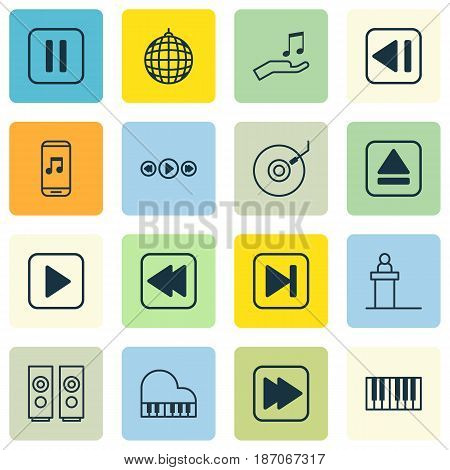 Set Of 16 Music Icons. Includes Start Song, Audio Mobile, Following Song And Other Symbols. Beautiful Design Elements.