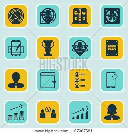 Set Of 16 Human Resources Icons. Includes Successful Investment, Tournament, Curriculum Vitae And Other Symbols. Beautiful Design Elements.