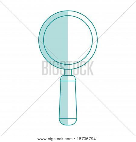 blue shading silhouette cartoon magnifying glass with handle vector illustration