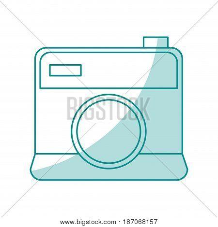 blue shading silhouette cartoon analog camera with flash vector illustration