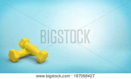 3d rendering of a two small yellow handheld dumbbells lying one on another on blue background. Sport and fitness. Staying in shape. Losing weight.