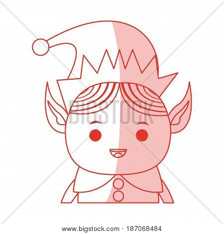 red shading silhouette cartoon half body christmas elf with long ears vector illustration