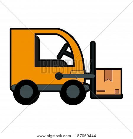 forklift with boxes icon image vector illustration design