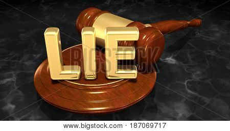 Lie Law Concept 3D Illustration