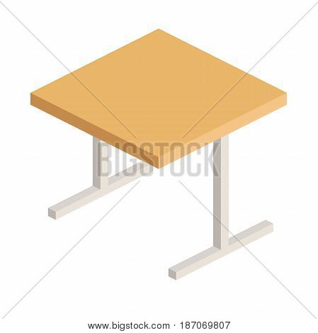 school Desk with wooden lid and metal legs in isometric view, a Desk for writing and computer in flat style, vector illustration isolated on white background