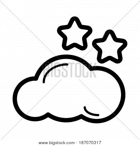 Weather forecast vector sign. Starlight Night, mostly cloud. eps 10