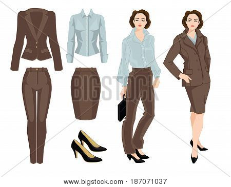 Vector illustration of business women or teacher. Formal beige suit, blue blouse, black shoes on white background