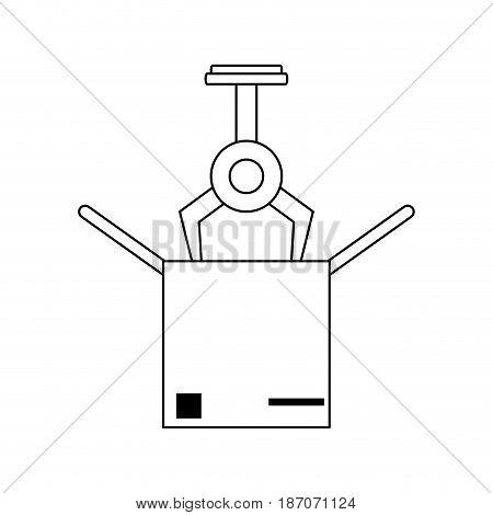 assembly line industrial machine icon image vector illustration design  single black line