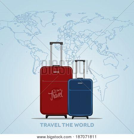 Travel The World Poster Design Vector Illustration