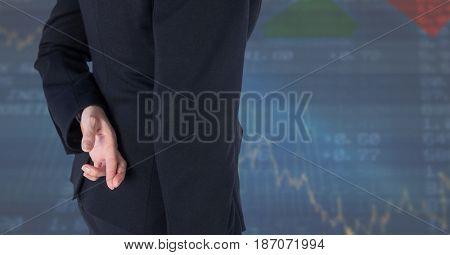 Digital composite of finger crossed,stock market