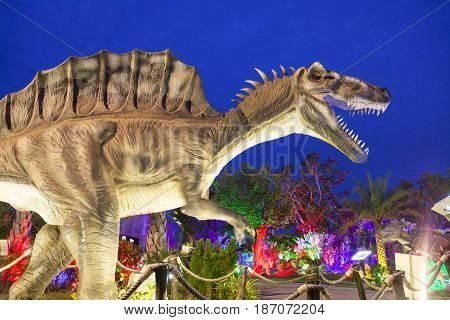 20 September 2016 At the Dinosaur park Dannok Sadao District Songkhla in Thailand opening hours 10.00 am. - 10.00 pm. In the evening have the blue sky and the light make it beautiful.