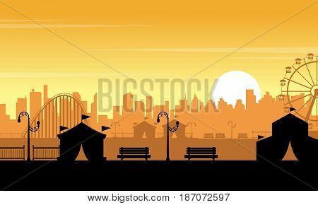 Vector flat amusement park at sunset scenery collection stock