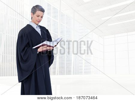 Digital composite of Judge holding book in front of bright windows