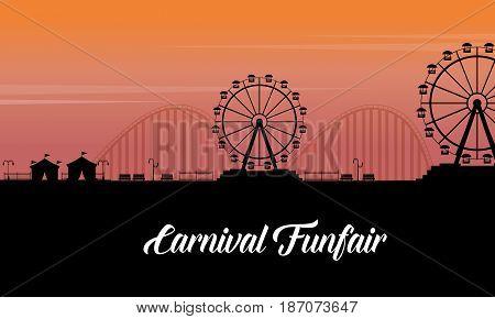 Silhouette of carnival fun fair scenery vector art
