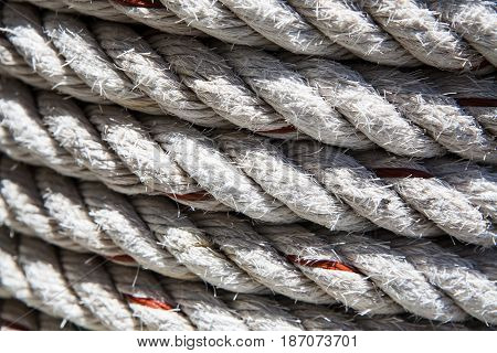 Background of roll of rope. Texture rope closeup. Perfect rough rope texture. selective focus.