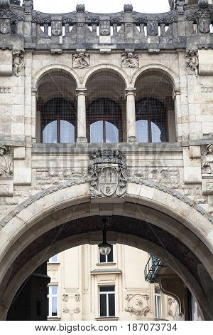 A fragment of the former royal palace transition between Powder Tower and Municipal House Prague Czech Republic