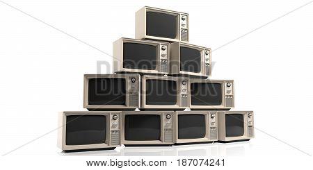 Vintage Tvs On White Background. 3D Illustration